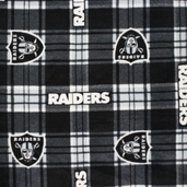 NFL Fleece Fabric - Raiders Plaid - Black