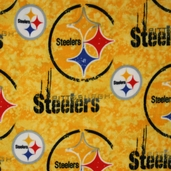 NFL Fleece Fabric - Steelers - Gold