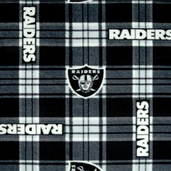 NFL Fleece Oakland Raiders Plaid Polyester Fabric - Black