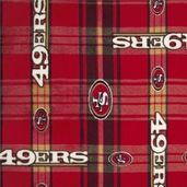 NFL Fleece San Francisco 49ers Plaid Polyester Fabric - Red