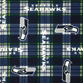 NFL Fleece Seattle Seahawks Plaid Polyester Fabric - Blue