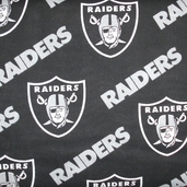 NFL Broadcloth Oakland Raiders Cotton Fabric -  Black