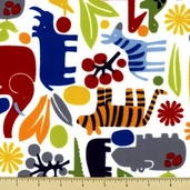 Nicole's Prints 2 D Zoo Flannel Cotton Fabric - Primary