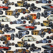 Nicole's Prints Rat Rods Cotton Fabric - Natural