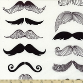 Nicole's Prints Where's My 'Stache? Fabric - White 7567A