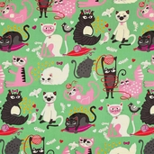 Nicole's Prints Whiskers Cotton Fabric - Green