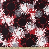 Night and Day 4 Floral Cotton Fabric - Red EWK-13554-3 RED