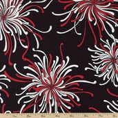 Night and Day 4 Large Floral Cotton Fabric - Red EWK-13551-3 RED