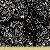 Night and Day Cotton Fabric - Heart Swirls - Black