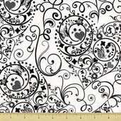Night and Day Cotton Fabric - Heart Swirls - White