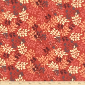 Night Owls Foliage Cotton Fabric - Red