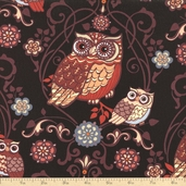 Night Owls Owl Cotton Fabric - Black