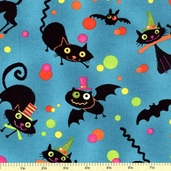 Nightmare Manor Cats and Bats Cotton Fabric - Teal