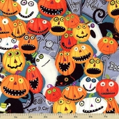 Nightmare Manor Packed Pumpkin Patch Cotton Fabric - Multi