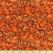 Nightmare Manor Spooky Swirls Cotton Fabric - Orange