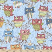 Nighty Night Owl All Over Cotton Fabric - Blue