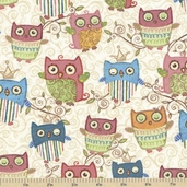Nighty Night Owl All Over Cotton Fabric - Ivory