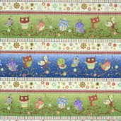 Nighty Night Owl Repeating Stripe Cotton Fabric