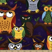 Nite Owl Owls In Trees Cotton Fabric - Purple