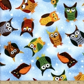 Nite Owl Toss Cotton Fabric - Blue