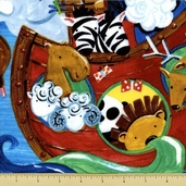 Noah's Ark Panel Cotton Fabric - Blue Y1064-30