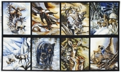 North American Wildlife Cotton Fabric Panel - Earth