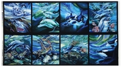 North American Wildlife Cotton Fabric Panel - Ocean