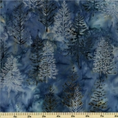 Northwoods Batik Cotton Fabric Metallic - Pine Toss - Evening