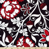Nouveau Rouge Large Floral Cotton Fabric - Red