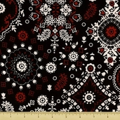 Novelty Cotton Fabric - Medium Paisley - Black