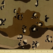 Novelty Cotton Fabric - Rough Camouflage - Natural - Clearance