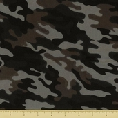 Novelty Cotton Fabric  - Small Camouflage - Black