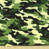 Novelty Cotton Fabric - Small Camouflage - Green - Clearance