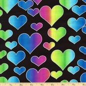 Novelty Prints Glitter Hearts Cotton Fabric - Black - Clearance