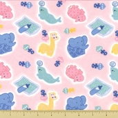 Nursery Flannel Cotton Fabric - Animal Toss - Pink