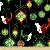 O' Tinsel Tree 2 Cotton Fabric - Partridges - Holiday