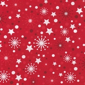 O' Tinsel Tree Cotton Fabric - Crimson - Clearance