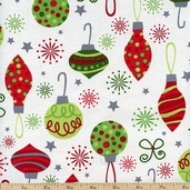 O' Tinsel Tree Ornaments Cotton Fabric - Holiday AMF-11166-223 HOLIDAY
