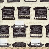 Objects Typewriter Cotton Fabric - Vintage AUD-13917-200 VINTAGE
