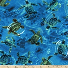 Ocean Avenue II Baby Turtles Cotton Fabric - Turquoise