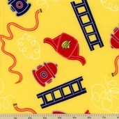 Off to the Rescue All-Over Flannel Fabric - Yellow