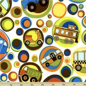On the Go Cotton Fabric - Vehicle Toss - White C3180
