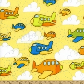 On The Go Planes Flannel - Yellow F3181