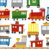 On The Go! Trains Cotton Fabric - White