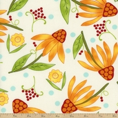 One For You One For Me Coneflower Cotton Fabric - Natural