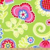 Ooh La La Cotton Fabric - Bouquet De Fleurs -Lime