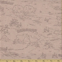 Ooh La La Cotton Fabric - Countryside Toile - Grey