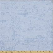 Ooh La La Cotton Fabric - Countryside Toile - Sky - CLEARANCE