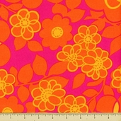 Orange Crush Cotton Fabric - Floral - Punch