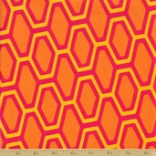 Orange Crush Cotton Fabric - Honeycomb Punch